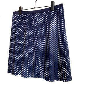 J.CREW pleated navy blue skirt white polka dots 6